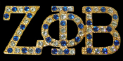 ZPB Gold Lapel Pin with blue and clear cyrstals mixed