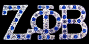 ZPB Silver Lapel Pin with blue and clear crystals mixed