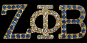ZPB Gold Lapel Pin with blue and clear crystals