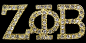 ZPB Gold Lapel Pin with clear crystals