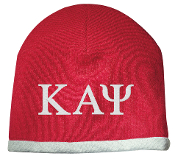 KAP Red/White Greek Letter Beanie